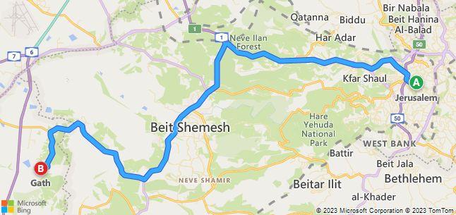 Jerusalem to Gath Driving map