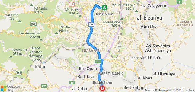 Jerusalem to Bethlehem Driving map